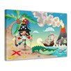 "Castleton Home Leinwandbild ""Kinderbild Pirat auf Insel Cartoon"", Grafikdruck"