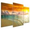 """Castleton Home 3-tlg. Leinwandbilder-Set """"Strand Sonnenuntergang II"""", Fotodruck"""
