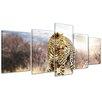 "Castleton Home 5-tlg. Leinwandbilder-Set ""Leopard"", Fotodruck"