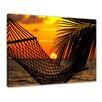 """Castleton Home Leinwandbild """"Palmen, Hängematte und Sonnenuntergang"""", Fotodruck"""