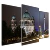 """Castleton Home 3-tlg. Leinwandbild-Set """"Berliner Dom und Fernsehturm bei Nacht"""", Fotodruck"""