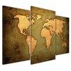 """Castleton Home 3-tlg. Leinwandbilder-Set """"Weltkarte"""", Grafikdruck"""