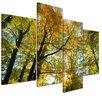 "Castleton Home 4-tlg. Leinwandbild-Set ""Blätterfall im Herbst"", Fotodruck"