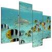"""Castleton Home 4-tlg.Leinwandbild-Set """"Hai und Fische in Bora Bora"""", Fotodruck"""