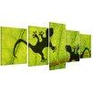 "Castleton Home 5-tlg. Leinwandbilder-Set ""Dschungelblatt mit Geckos"", Fotodruck"
