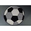 Castleton Home Kids Football Hand-Tufted Black/White/Grey Area Rug