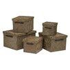 Castleton Home Pandanus 5 Piece Storage Box Set