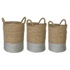 Castleton Home Seagrass 3 Piece Storage Basket Set