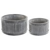 Castleton Home 2 Piece Shallow Round Pot Planter Set