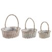 Castleton Home Willow 3 Piece Oval Basket Planter Set