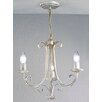 Castleton Home Leon Three Light Candle Chandelier in White Brushed Gold