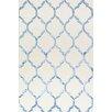 Bakero Handgeknüpfter Teppich Chain in Weiß/Blau