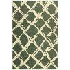 Bakero Handgewebter Teppich Kilim in Grün