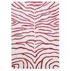 Bakero Handgeknüpfter Teppich Zebra in Weiß/Rot