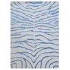 Bakero Handgeknüpfter Teppich Zebra in Weiß/Blau