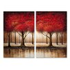 Three Posts Autumn Trees 2 Piece Painting Print on Wrapped Canvas Set
