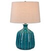 "Three Posts Springfield Ribbed Ceramic 24"" Table Lamp with Drum Shade"