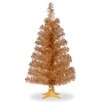 """Three Posts Tinsel Trees 3"""" Champagne Artificial Christmas Tree and Stand"""