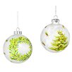 Three Posts 2 Piece Festive Tree and Wreath Painted Glass Ball Ornament Set
