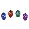 Three Posts Embellished Egg Glass Ornament (Set of 4)