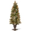 Three Posts Entrance 5' Green Artificial Christmas Tree with 100 Pre-Lit Clear Lights with Urn Base