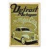 Americanflat Leinwandbild Detroit Michigan, Retro-Werbung