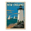 Americanflat Leinwandbild New England Lighthouse, Retro-Werbung