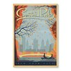 Americanflat Leinwandbild New York City Central Park Autumn, Retro-Werbung