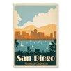 Americanflat Poster Diego Southern California, Retro-Werbung von Anderson Design Group