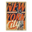 """Americanflat Poster """"NYC Welcomes You"""" von Anderson Design Group, Retro-Werbung in Orange"""