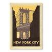 Americanflat Leinwandbild New York Manhattan Bridge, Retro-Werbung