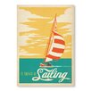 """Americanflat Poster """"I Would Rather Be Sailing"""" von Anderson Design Group, Grafikdruck in Gelb"""