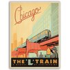 Americanflat Leinwandbild Chicago L Train, Retro-Werbung