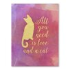 Americanflat Love and a Cat Graphic Art Wrapped on Canvas