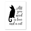 Americanflat Love and a Cat Graphic Art on Canvas