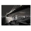 Americanflat Leinwandbild Bridge Night, Fotodruck von Lina Kremsdorf in Grau