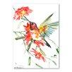 "Americanflat Leinwandbild ""Hummingbird with Flowers"" von Suren Nersisyan, Kunstdruck"