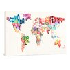 yourPainting World Text Map Painting by Michael Tompsett Original Painting on Canvas