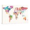 "yourPainting Leinwandbild ""World Text Map"", Originalgemälde"