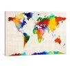 "yourPainting Leinwandbild ""World Map Sponge Painting"", Originalgemälde"