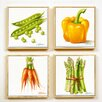 Artvue Golinelli Bright Veg 4 Piece Framed Graphic Art Set