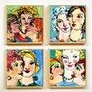 Artvue Burt Ladies Chat 4 Piece Framed Art Print Set