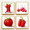 Artvue Golinelli Red and White Veg 4 Piece Framed Graphic Art Set