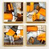 Artvue Jadis Yellow Abstract 4 Piece Framed Art Print Set
