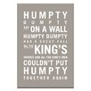 Artist Lane Humpty Dumpty by Nursery Canvas Art in Grey
