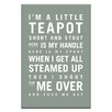 Artist Lane I'm a Little Teapot by Nursery Canvas Art in Grey