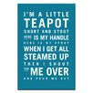 Artist Lane I'm a Little Teapot by Nursery Canvas Art in Teal