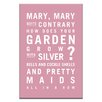 Artist Lane Mary, Mary Quite Contrary by Nursery Canvas Art in Pink
