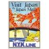 Artist Lane Gerahmtes Leinwandbild Visit Japan, Retro-Werbung
