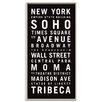 """Artist Lane Gerahmtes Leinwandbild """"New York"""" von Tram Scrolls, Typografische Kunst"""